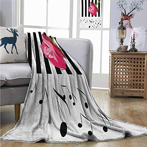 Degrees of Comfort Weighted Blanket Modern Hand Drawn Red Rose on Piano with Musical Notes Romantic Instrumental Art Full Blanket W60 xL80 Pink Black White
