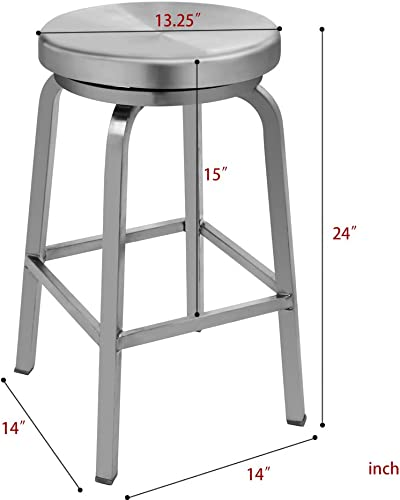 IRICA Stainless Steel Swivel Round Seat Backless Counter Hgt Bar Stool, Satin Brushed Finish, 24 inches Seat Hgt, Commercial Quality, Indoor Porch Use, 1 Pack