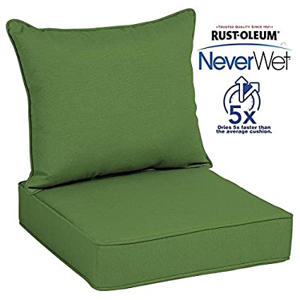 green chair cushions lime green allen roth neverwet 1piece deep seat patio chair cushion in green amazoncom
