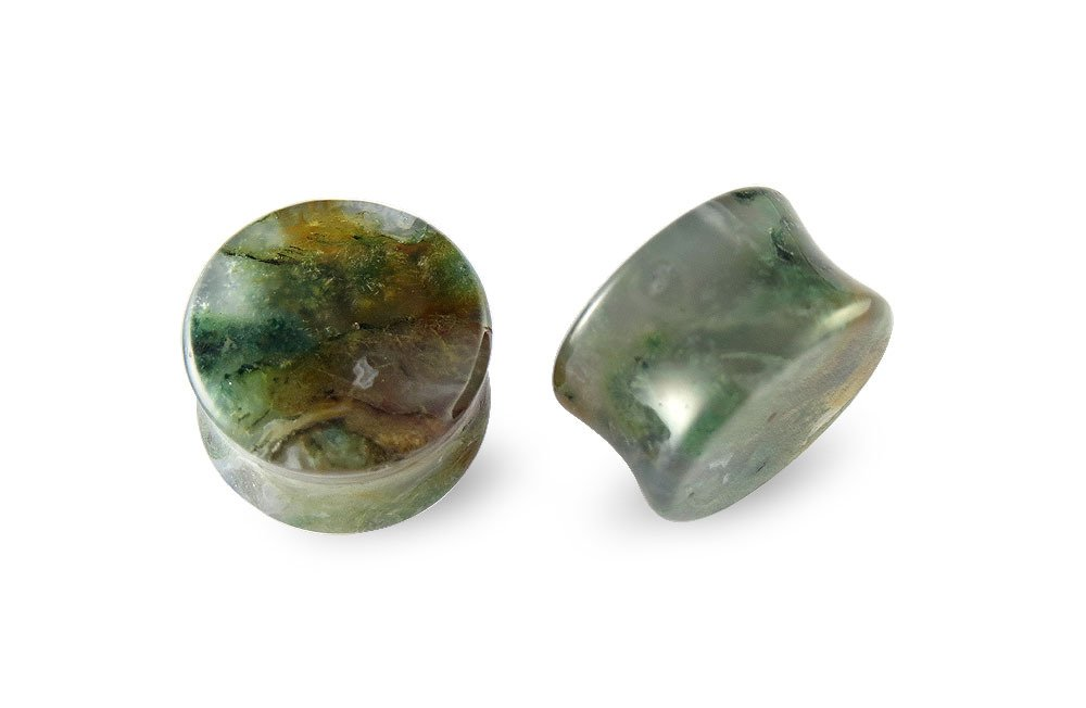 Pair Green India Agate Stone Plugs 11mm - 7/16 by Scrap Metal 23