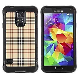 LASTONE PHONE CASE / Suave Silicona Caso Carcasa de Caucho Funda para Samsung Galaxy S5 SM-G900 / Fashion Brand Fabric Pattern Style Brown Classic