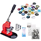 Seeutek 2-1/4 inch 58mm Button Badge Maker Machine with 1100 Pcs Button Parts and 2-1/4 inch 58mm Circle Cutter