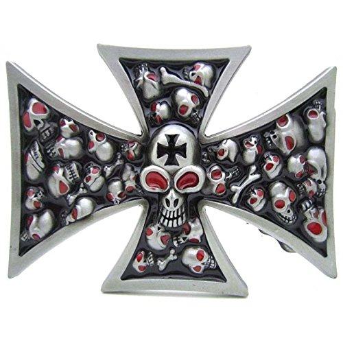 (Mens Belt Buckle Pewter Evil Skull Iron Cross Boucle De Ceinture)