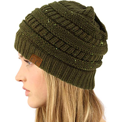 CC Winter Trendy Soft Cable Knit Stretchy Warm Ribbed Beanie Skully Ski Hat Cap Sequins New Olive