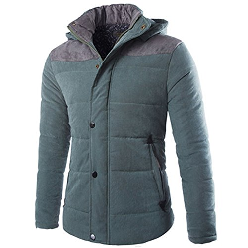 Meijunter Mens Solid Color-Sport-Mantel starke warme Baumwolle mit Kapuze, wattierter Parka-Jacke Outwear Sport Coat Green