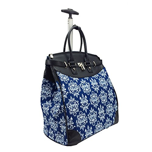 Classic Damask Blue Rollies Tote (Foldable)