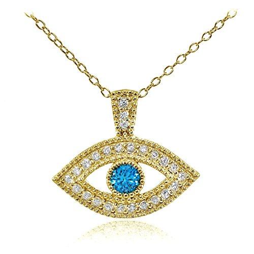 Hoops & Loops Sterling Silver London Blue Cubic Zirconia Evil Eye Necklace