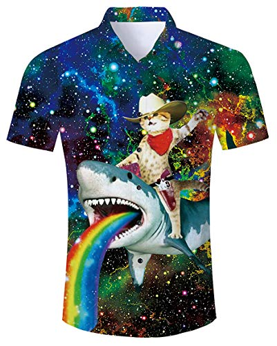 Aloha Shirt Mens Tropical Hawaiian Island Novelty Colorful Spots Galaxy Rainbow Shark Captain Cat Dolphin Big and Tall Slim Beachwear Fancy Short Sleeves Stand Collar Cute Vintage Top Shirts Clothes