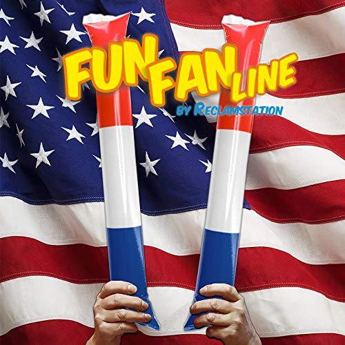 Fun Fan Line® - Independence Pack! Thunder Sticks, Bam Bam, Noisemakers with the American colors. Pefect for parties, celebrations and sport events (10 pairs)