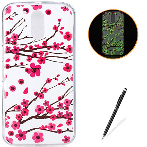(Motorola G4 Soft Silicone Gel Case Luminous Effect KaseHom [with Free Black Touch Stylus] Green Glow in The Dark Colourful Plum Blossom Pattern Jelly Clear TPU Skin Cover Bumper Shell)