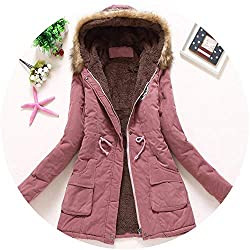 The Small Cat New Winter Military Coats Women Cotton Wadded Hooded Jacket Medium Long Casual Parka Snow Outwear Small Dark Pink