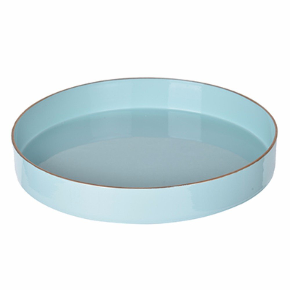 Benzara Beautiful Mimosa Round, Powder Blue Tray BM145835