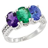 10K White Gold Natural Amethyst, Emerald & Tanzanite Ring 3-Stone Oval 7x5 mm Diamond Accent, sizes 5 - 10