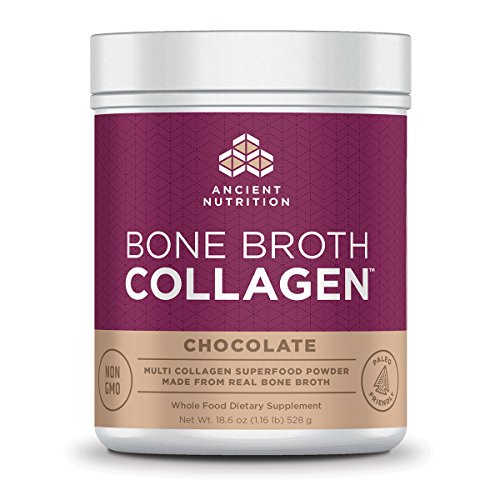 Price comparison product image Ancient Nutrition Bone Broth Collagen Powder,  30 Servings of All-Natural Protein Powder Loaded with Bone Broth Co-Factors,  10g of Type I,  II and III Collagen Per Serving (Chocolate)