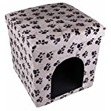 Clever Creations Black And White Pawprints Cat House Collapsible Ottoman Foot Rest