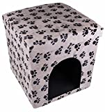 Black and White Pawprints Cat House Collapsible Ottoman Foot Rest