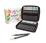 Watercolor Brush PENS 24 REFILLABLE Colors with Travel CASE