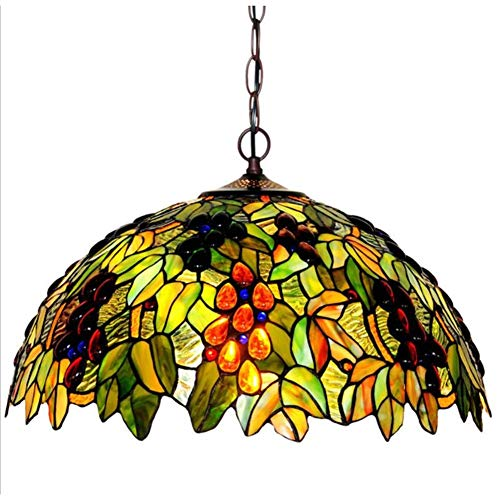 - Tiffany Style Chandelier 18-Inch Grape-Patterned Decorative Stained Glass Pendant Lamp Hallway Bedchamber Parlour Coffee Bar Club Art Hanging Light, E272, BOSS LV, 220v