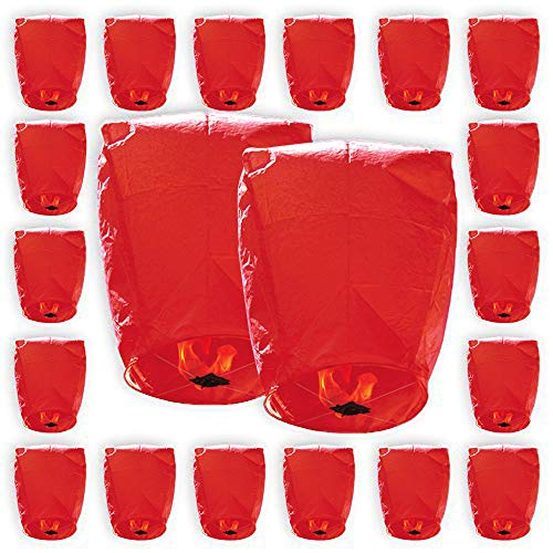 (Just Artifacts ECO Wire-Free Flying Chinese Sky Lanterns (Set of 20, Eclipse, Red) - 100% Biodegradable, Environmentally Friendly Lanterns!)