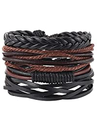 Mixed Wrap Wristbands Wood Beads Adjustable Braided Leather Friendship Charm Weave Set for Men