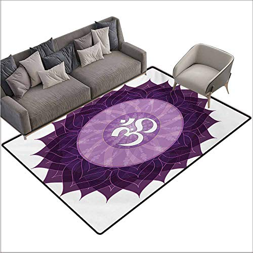 (Door Rug Area Rug Chakra Circular Lace Like Point Form with Arabic Lettering The in Node Centre Meditation Image All Season General W67 xL102 Purple)