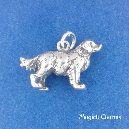 Sterling Silver 3-D Golden Retriever Dog Charm for Pendant Bracelet DIY Jewelry Making Supply