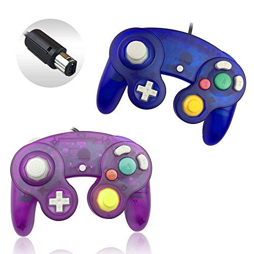 Reiso 2 Packs NGC Controllers Classic Wired Controller for Wii Gamecube( Clear Purple and Clear Blue) (All Remove Recommendations)