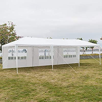 ShunFuET 10'x30' White Outdoor Gazebo Canopy Wedding Party Tent Patio Gazebo BBQ Shelter with 5 Removable Sides Walls for Party Garden, White : Garden & Outdoor