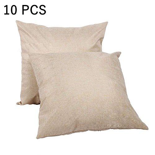 Retermit 10 pcs 15x15 inch Natural Poly Linen Pillow case Blanks for DIY Sublimation Plain Burlap Cushion Cover Embroidery -