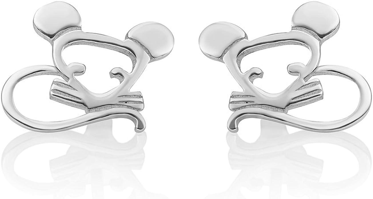 Sterling Silver 925 Cute Mouse Post Style Stud Earring Rat Stud Earring