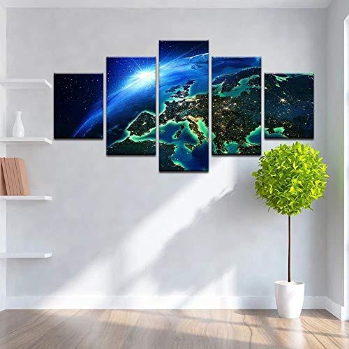 WANGZUO Arte De La Pared De La Lona Pintura Abstracta 5 Piezas Universo De La Tierra HD Imagenes Al Oleo Impresiones Colorido Cartel De Belleza Decoracion De La Habitacion del Nino/Cuadro/150x80CM