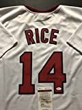 Autographed/Signed Jim Rice Boston Red Sox White Baseball Jersey JSA COA