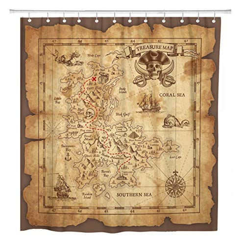 ArtSocket Shower Curtain Super Detailed Pirate Treasure Map on Ruined Old Parchment Home Bathroom Decor Polyester Fabric Waterproof 72 x 72 Inches Set with Hooks