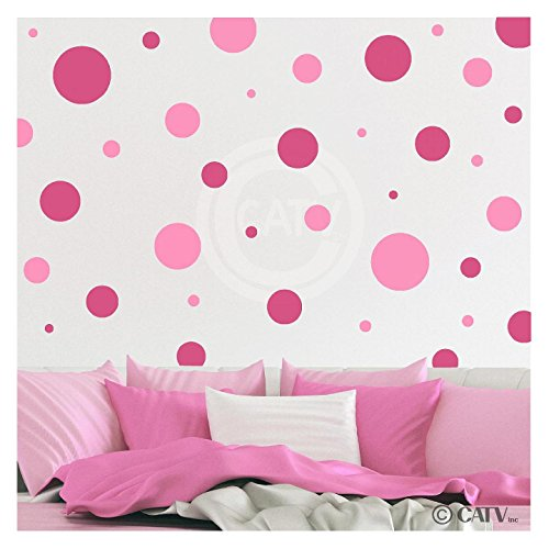 Assorted Vinyl Polka Dots circle wall decals vinyl stickers nursery decor (Pink & Dark Pink/set of 32)