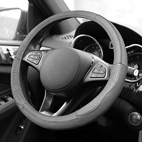 FH Group FH2007GRAY Gray Sleek and Sporty Leather Steering Wheel Cover
