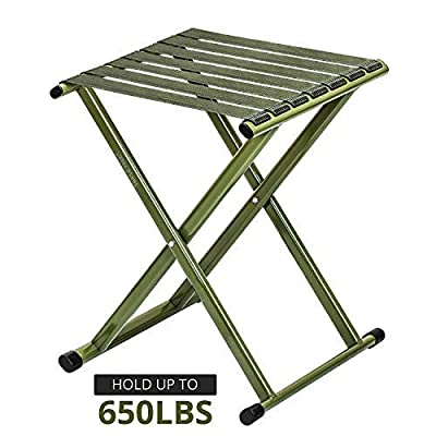 TRIPLE TREE Super Strong Portable Folding Stool, Heavy Duty Outdoor Folding Chair Hold Up to 650 LBS 1 Pack, 11.8 x10.8 x14.3 Inch (LxWxH) Medium Size: Sports & Outdoors