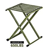 TRIPLE TREE Super Strong Portable Folding Stool, Heavy Duty Outdoor Folding Chair Hold Up to 650 LBS 1 Pack, 11.8 x10.8 x14.3 Inch (LxWxH) Medium Size