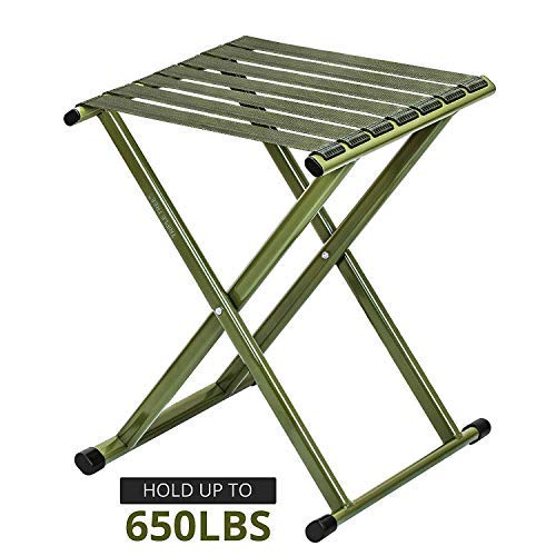 - TRIPLE TREE Super Strong Portable Folding Stool, Heavy Duty Outdoor Folding Chair Hold Up to 650 LBS 1 Pack, 11.8 x10.8 x14.3 Inch (LxWxH) Medium Size
