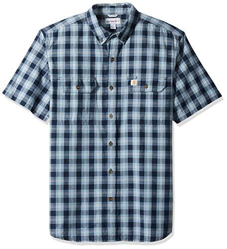 Carhartt Men's Fort Plaid Short Sleeve Shirt, Navy, - Two Pocket Plaid