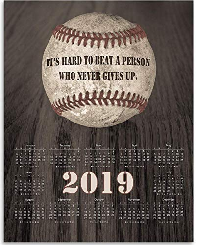 2019 Calendar - Inspirational Baseball Quote - 11x14 Unframed Calendar Art Print - Gift for Baseball Fans (Printed on Paper, Not - Player Calendar Wall