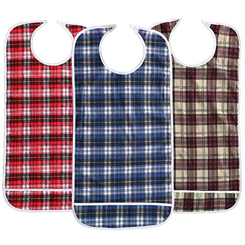 JINTAOFA Adult Bibs Eating Dining Clothing Protectors, Mealtime Protector with Crumb Catcher, Patient Care Bibs, Thickening Waterproof Pocket Trap Bib, Red Blue Khaki Lattice 3 Pack (17.7*35.4 inch)