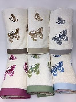 Juego toallas 3 + 3 bordadas vingi Art. Rodi Mariposas Var. 2: Amazon.es: Hogar