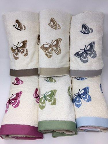 Juego toallas 3 + 3 bordadas vingi Art. Rodi Mariposas Var.