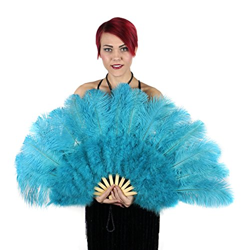 Large Ostrich Feather Hand Fan - Blue Flapper Folding Fan Dance Wedding Accessory