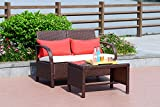 Cloud Mountain 2 PC Rattan Loveseat Sofa Furniture Bistro Set Outdoor Wicker Patio Garden Loveseat Glass Top Table, Cocoa Brown Rattan with Creamy White Cushions