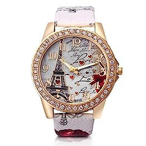 Dosige Torre Eiffel Amor Pulsera del Reloj Reloj de Cuarzo de Pulsera Mujeres Accesorios de Moda( Blanca) 51AwbfmCaeL