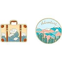 Enamel Pin for backpack - Outdoor Adventure Enamel Pin Set,Cute Ocean Wave Lapel Badges Hiking Mountain Landscape Brooch…
