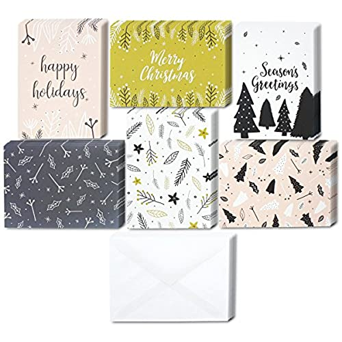 48 pack of christmas winter holiday family greeting cards assorted modern festive designs black white pink boxed with 48 count white envelopes - Modern Christmas Cards
