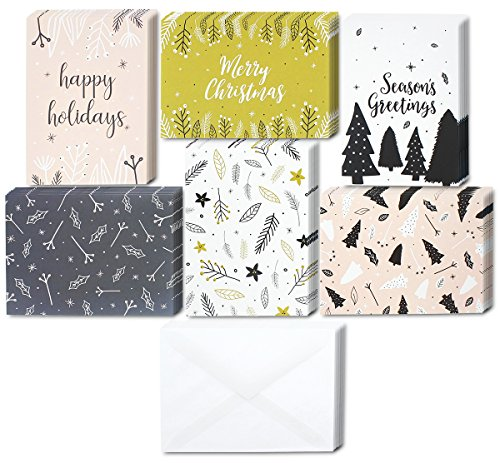 48 Pack of Christmas Winter Holiday Family Greeting Cards - Assorted Modern Festive Designs - Black, White, Pink - Boxed with 48 Count White Envelopes Included - 4.5 x 6.25 Inches