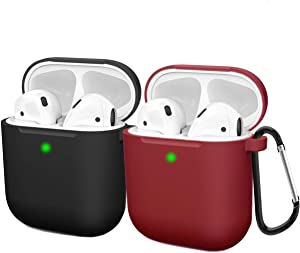 Compatible AirPods Case Cover Silicone Protective Skin for Apple Airpod Case 2&1 (2 Pack) Black/Wine Red